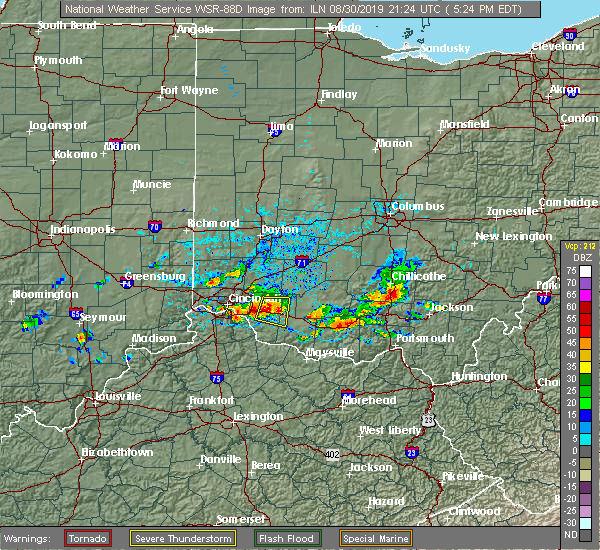 Radar Image for Severe Thunderstorms near Bethel, OH at 8/30/2019 5:26 PM EDT