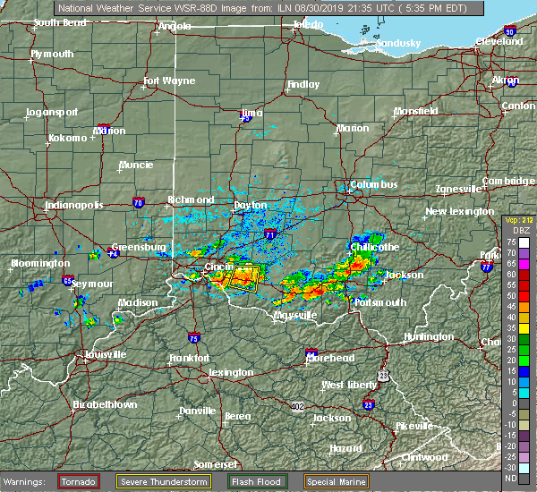 Radar Image for Severe Thunderstorms near Bethel, OH at 8/30/2019 5:39 PM EDT