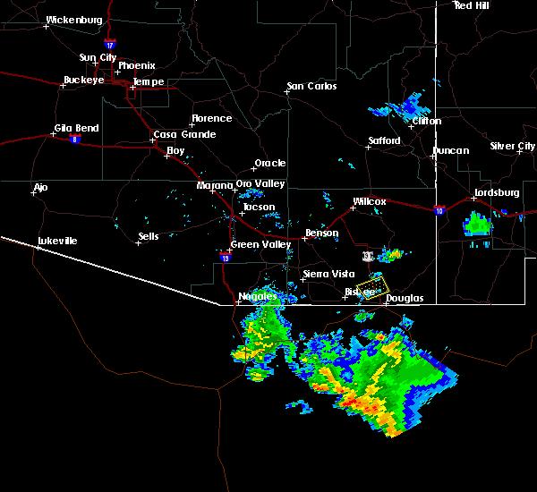 Radar Image for Severe Thunderstorms near Douglas, AZ at 6/22/2015 7:08 PM MST