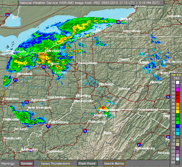 Radar Image for Severe Thunderstorms near Oliver, PA at 9/1/2019 5:20 PM EDT