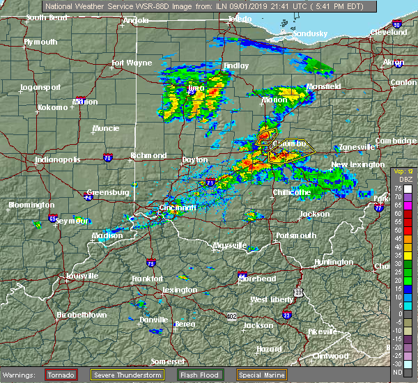 Radar Image for Severe Thunderstorms near Obetz, OH at 9/1/2019 5:48 PM EDT