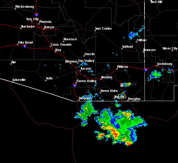 Radar Image for Severe Thunderstorms near Douglas, AZ at 6/22/2015 7:29 PM MST