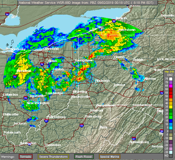 Radar Image for Severe Thunderstorms near Industry, PA at 9/1/2019 8:20 PM EDT