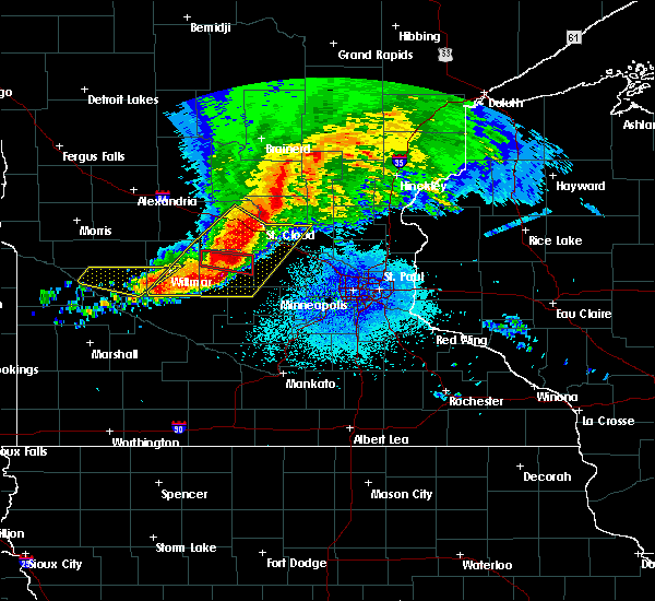 Radar Image for Severe Thunderstorms near Clara City, MN at 9/2/2019 9:25 PM CDT