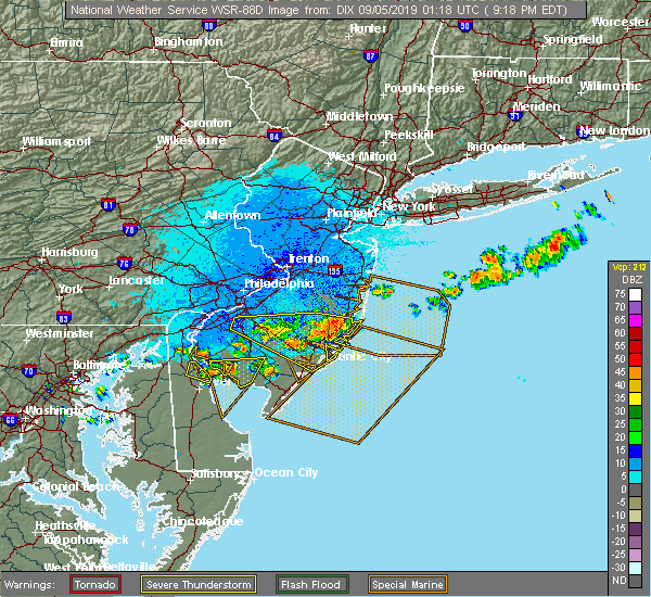 Radar Image for Severe Thunderstorms near Clayton, NJ at 9/4/2019 9:21 PM EDT