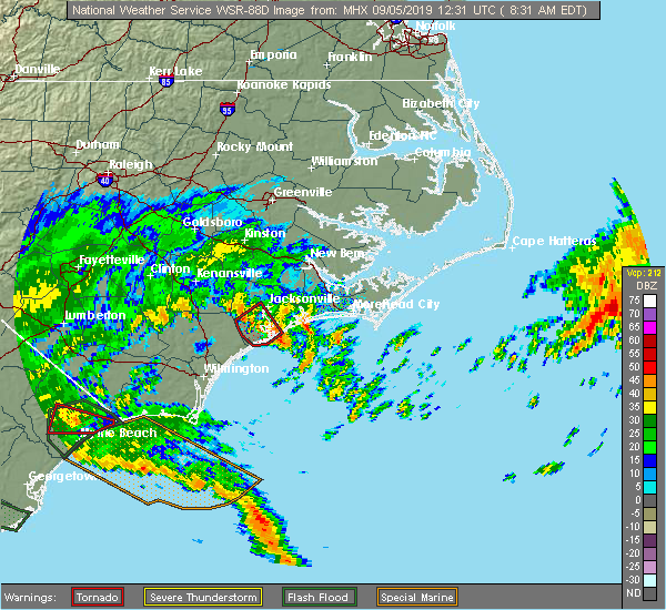 Radar Image for Severe Thunderstorms near Jacksonville, NC at 9/5/2019 8:32 AM EDT