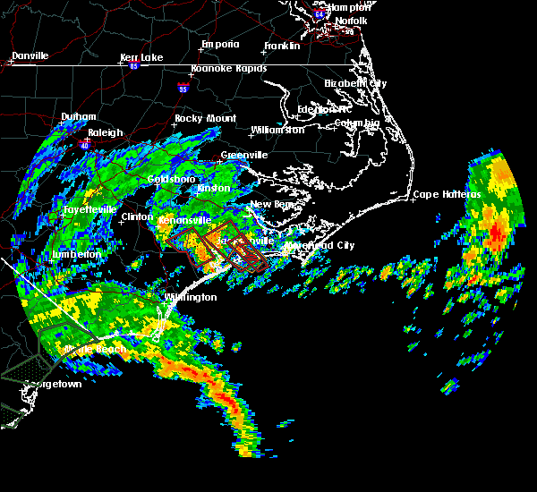 Radar Image for Severe Thunderstorms near Jacksonville, NC at 9/5/2019 9:14 AM EDT