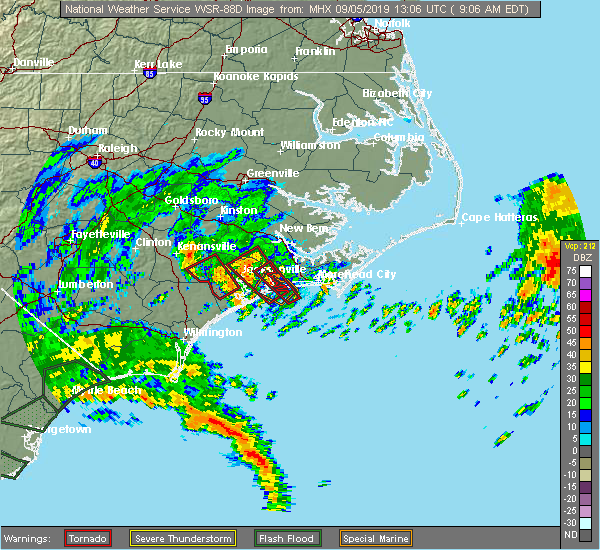 Radar Image for Severe Thunderstorms near Jacksonville, NC at 9/5/2019 9:13 AM EDT