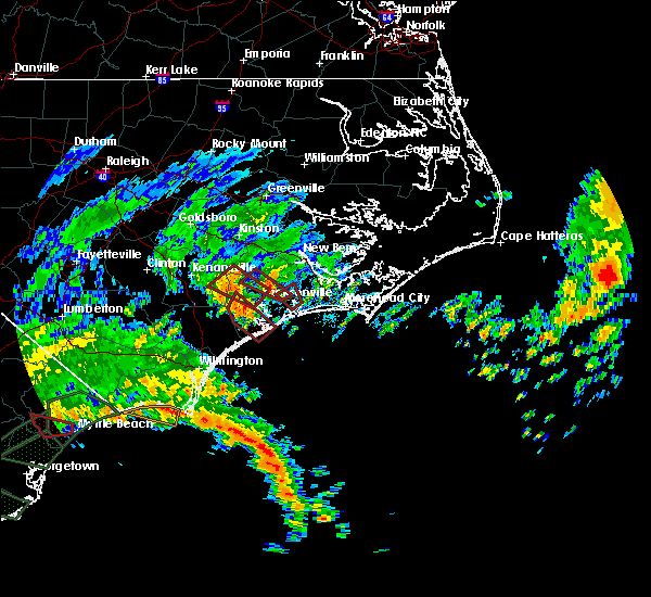 Radar Image for Severe Thunderstorms near Jacksonville, NC at 9/5/2019 9:45 AM EDT