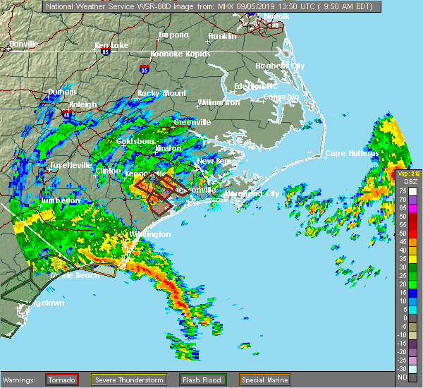 Radar Image for Severe Thunderstorms near Jacksonville, NC at 9/5/2019 9:58 AM EDT