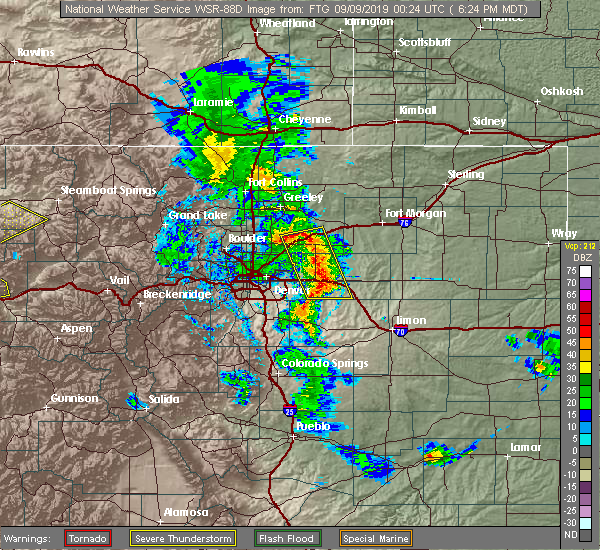 Radar Image for Severe Thunderstorms near Aurora, CO at 9/8/2019 6:25 PM MDT