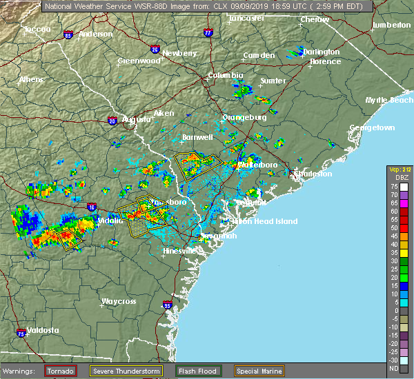 Radar Image for Severe Thunderstorms near Allendale, SC at 9/9/2019 3:03 PM EDT