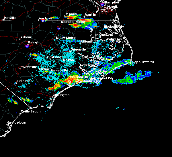 Radar Image for Severe Thunderstorms near Jacksonville, NC at 9/9/2019 5:21 PM EDT