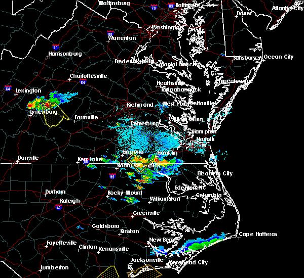 Radar Image for Severe Thunderstorms near Boykins, VA at 9/9/2019 5:53 PM EDT