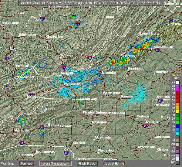 Radar Image for Severe Thunderstorms near Lovingston, VA at 9/11/2019 4:59 PM EDT