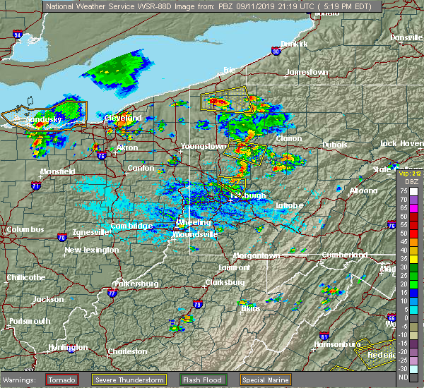 Radar Image for Severe Thunderstorms near Bradford Woods, PA at 9/11/2019 5:26 PM EDT