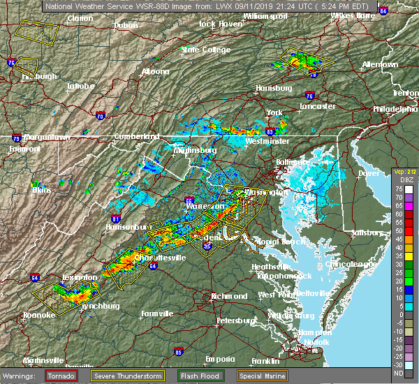 Radar Image for Severe Thunderstorms near Potomac Heights, MD at 9/11/2019 5:28 PM EDT