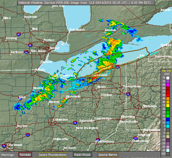 Radar Image for Severe Thunderstorms near Highland Heights, OH at 9/13/2019 8:38 PM EDT