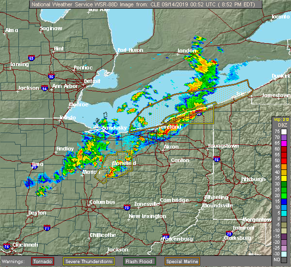Radar Image for Severe Thunderstorms near Cortland, OH at 9/13/2019 8:58 PM EDT