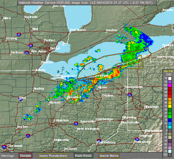 Radar Image for Severe Thunderstorms near Cortland, OH at 9/13/2019 9:31 PM EDT