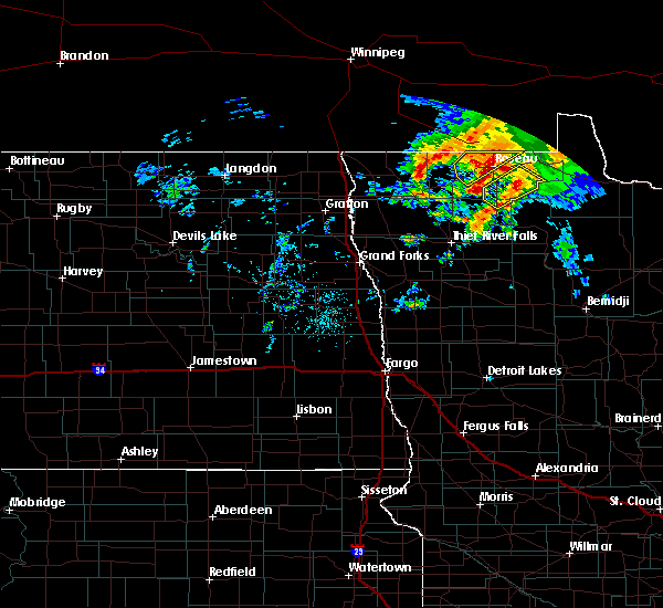 Radar Image for Severe Thunderstorms near Roseau, MN at 9/20/2019 1:13 PM CDT
