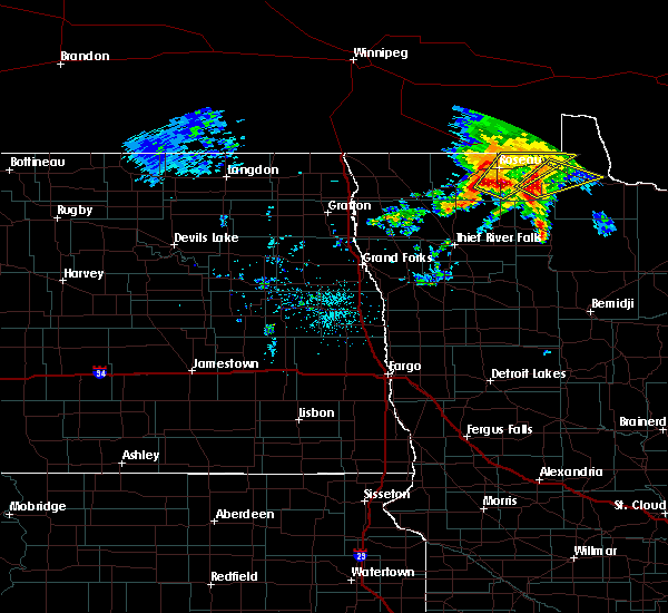 Radar Image for Severe Thunderstorms near Roseau, MN at 9/20/2019 1:58 PM CDT