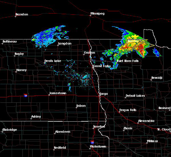 Radar Image for Severe Thunderstorms near Roseau, MN at 9/20/2019 2:21 PM CDT