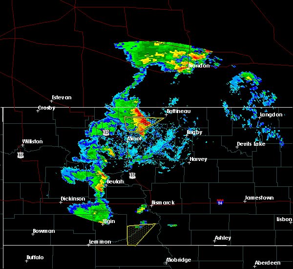 Radar Image for Severe Thunderstorms near Bottineau, ND at 9/20/2019 3:30 PM CDT