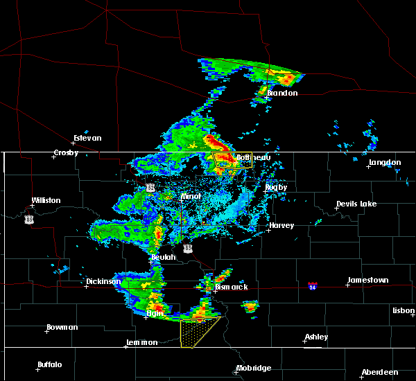 Radar Image for Severe Thunderstorms near Bottineau, ND at 9/20/2019 4:00 PM CDT