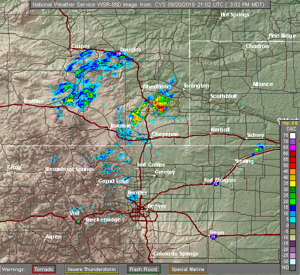 Radar Image for Severe Thunderstorms near Slater, WY at 9/20/2019 3:06 PM MDT