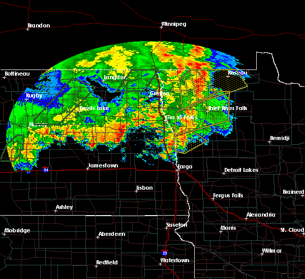 Radar Image for Severe Thunderstorms near Roseau, MN at 9/20/2019 9:30 PM CDT
