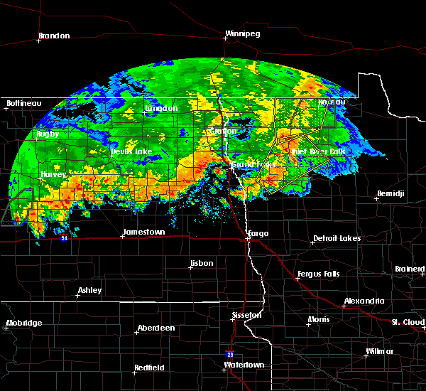 Radar Image for Severe Thunderstorms near Roseau, MN at 9/20/2019 10:07 PM CDT