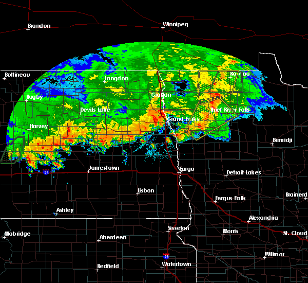 Radar Image for Severe Thunderstorms near Roseau, MN at 9/20/2019 10:14 PM CDT