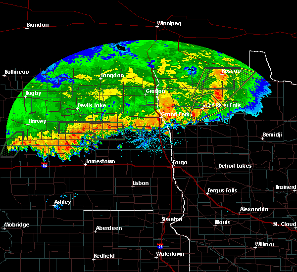 Radar Image for Severe Thunderstorms near Roseau, MN at 9/20/2019 10:47 PM CDT