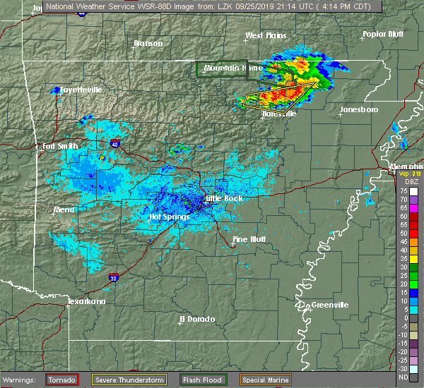 Radar Image for Severe Thunderstorms near Melbourne, AR at 9/25/2019 4:21 PM CDT