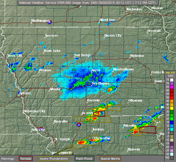 Radar Image for Severe Thunderstorms near Allerton, IA at 9/27/2019 7:18 PM CDT