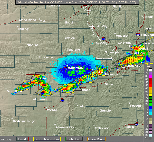 Radar Image for Severe Thunderstorms near Overbrook, KS at 9/27/2019 8:02 PM CDT