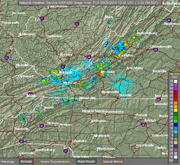 Radar Image for Severe Thunderstorms near East Lexington, VA at 9/28/2019 2:33 PM EDT