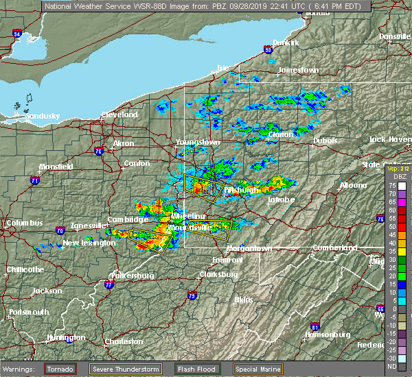 Radar Image for Severe Thunderstorms near Hannibal, OH at 9/28/2019 6:48 PM EDT
