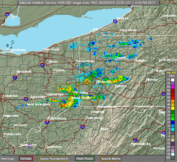 Radar Image for Severe Thunderstorms near Youngstown, PA at 9/28/2019 6:55 PM EDT