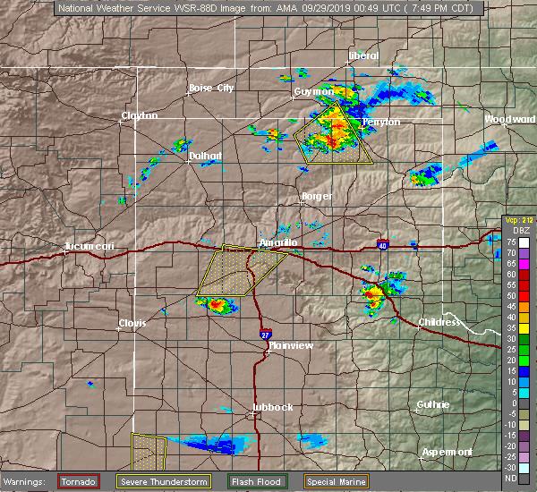 Radar Image for Severe Thunderstorms near Spearman, TX at 9/28/2019 7:53 PM CDT