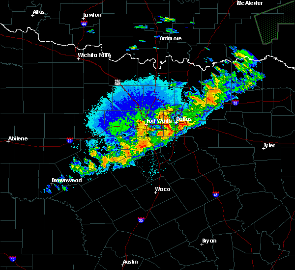 Radar Image for Severe Thunderstorms near Cleburne, TX at 10/10/2019 9:56 PM CDT