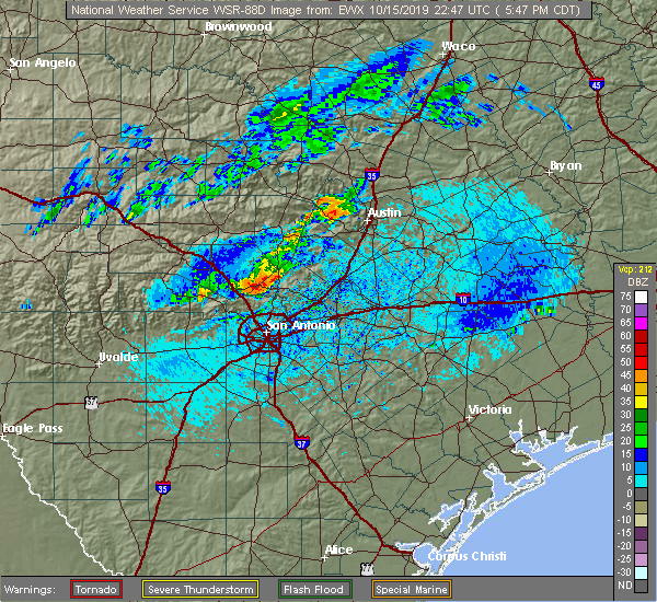 Radar Image for Severe Thunderstorms near Bulverde, TX at 10/15/2019 5:52 PM CDT