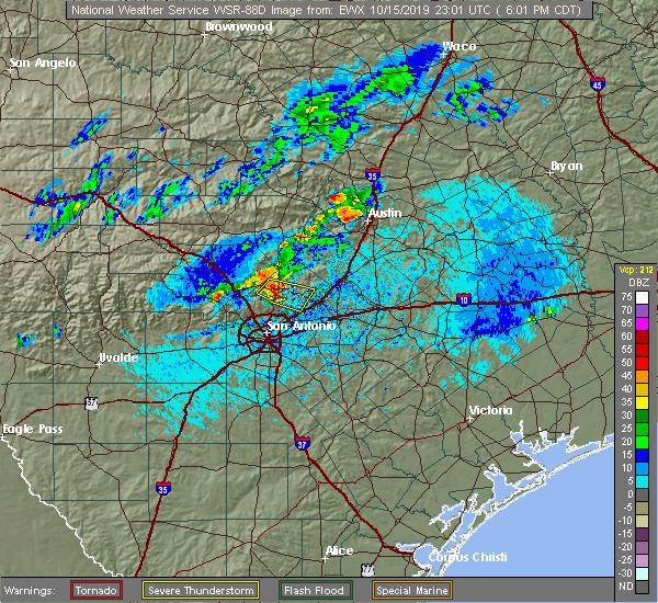Radar Image for Severe Thunderstorms near Bulverde, TX at 10/15/2019 6:04 PM CDT