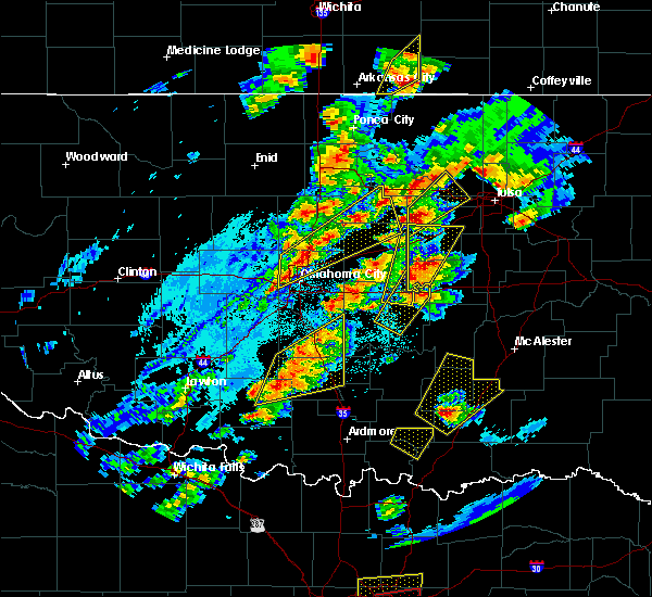 Radar Image for Severe Thunderstorms near Prague, OK at 10/20/2019 9:16 PM CDT