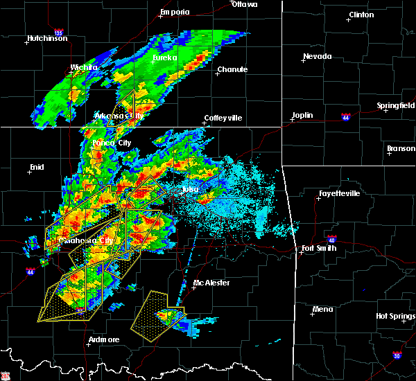 Radar Image for Severe Thunderstorms near Wickliffe, OK at 10/20/2019 9:28 PM CDT