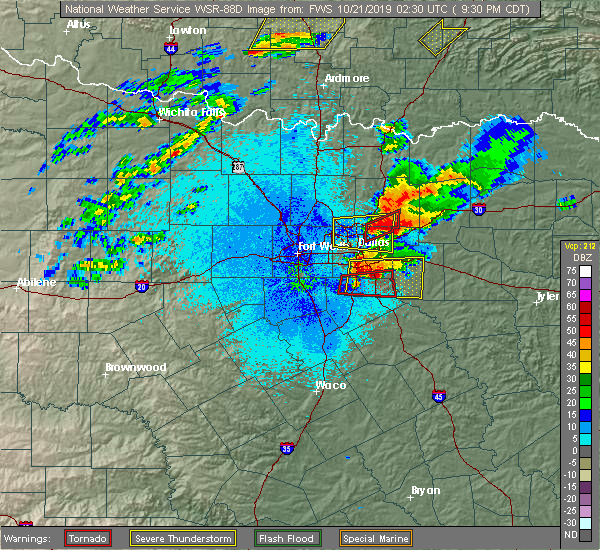 Radar Image for Severe Thunderstorms near Balch Springs, TX at 10/20/2019 9:44 PM CDT