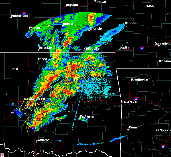 Radar Image for Severe Thunderstorms near Wickliffe, OK at 10/20/2019 10:02 PM CDT