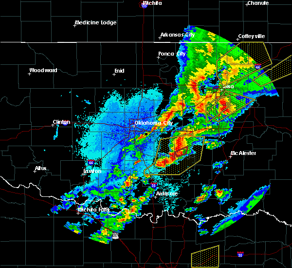 Radar Image for Severe Thunderstorms near Prague, OK at 10/20/2019 10:20 PM CDT