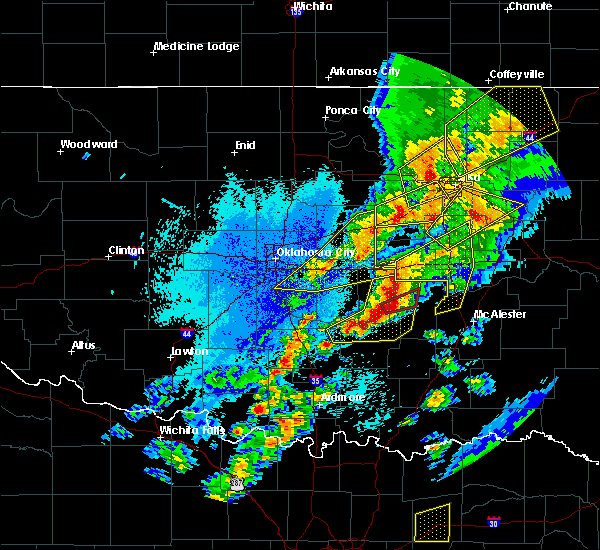 Radar Image for Severe Thunderstorms near Prague, OK at 10/20/2019 10:41 PM CDT